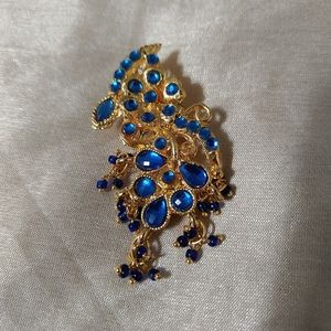 3/$10 Vibrant Blue and Gold Pendant w/ Seed Beads